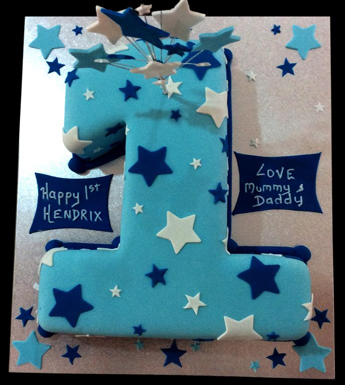 1st Birthday Stars Childrens Birthday Cake