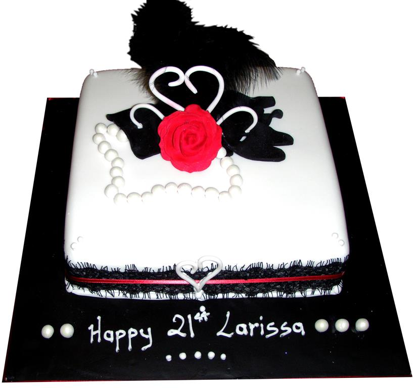 21st Black and White Birthday Cake