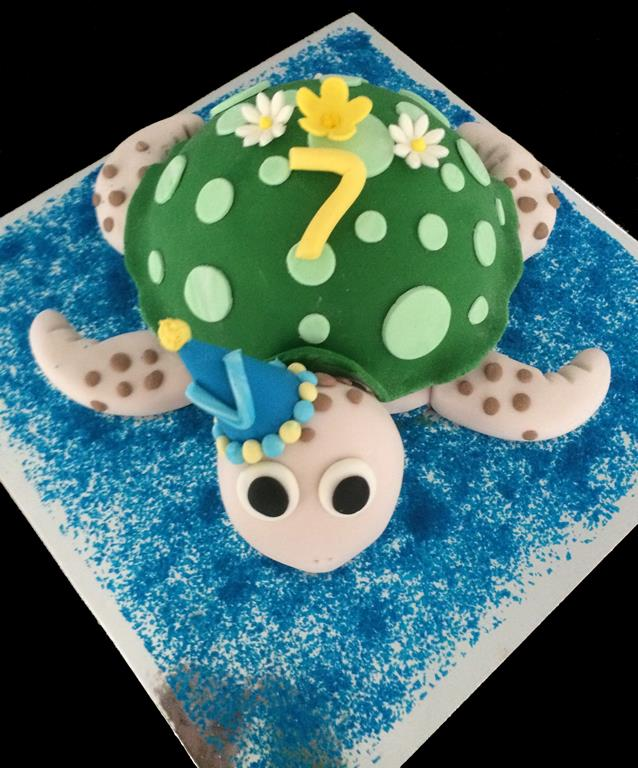 7th Childrens Birthday Turtle Cake