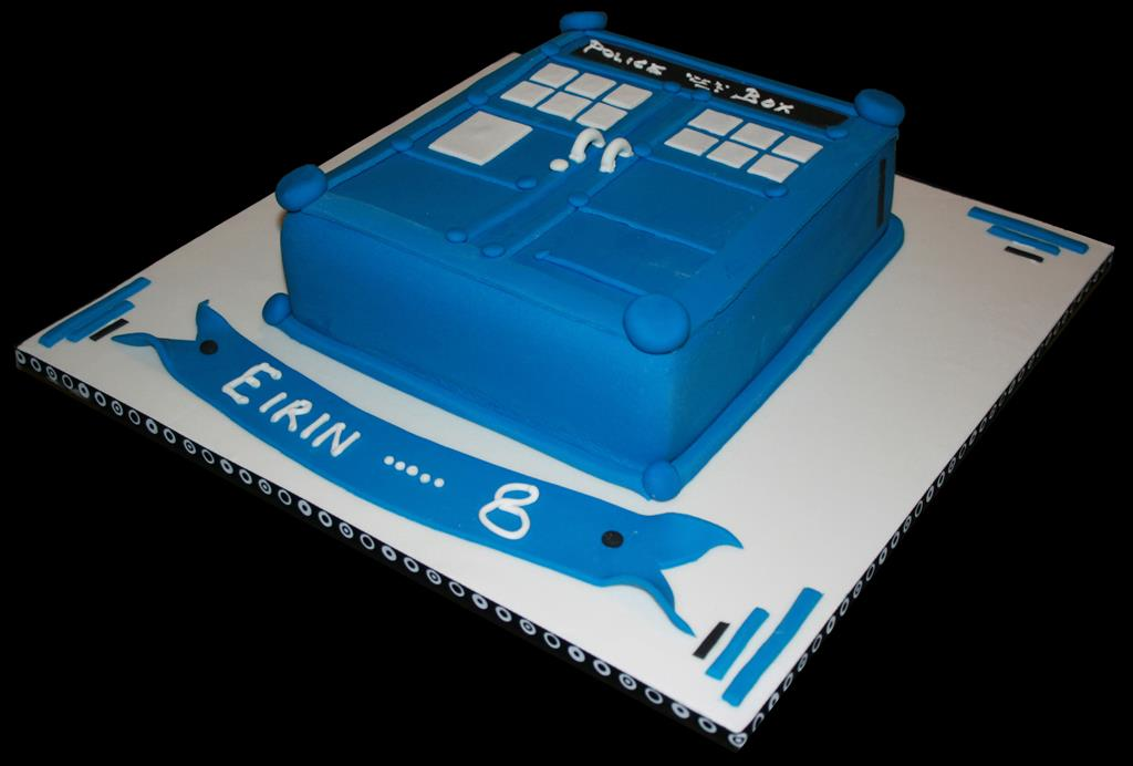 Blue Police Box Childrens Birthday Cake