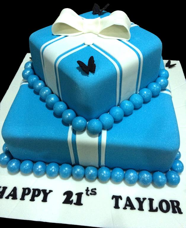 Blue Two Tier Birthday Cake