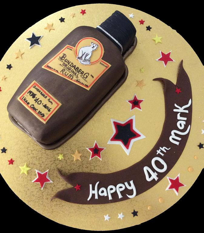 Bundy Rum Bottle 40th Birthday Cake