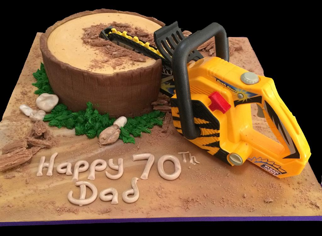 Chainsaw 70th Birthday Cake