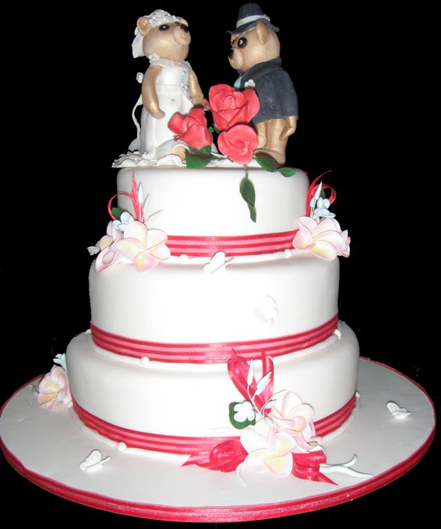 Cute Bear Three Tier Wedding Cake
