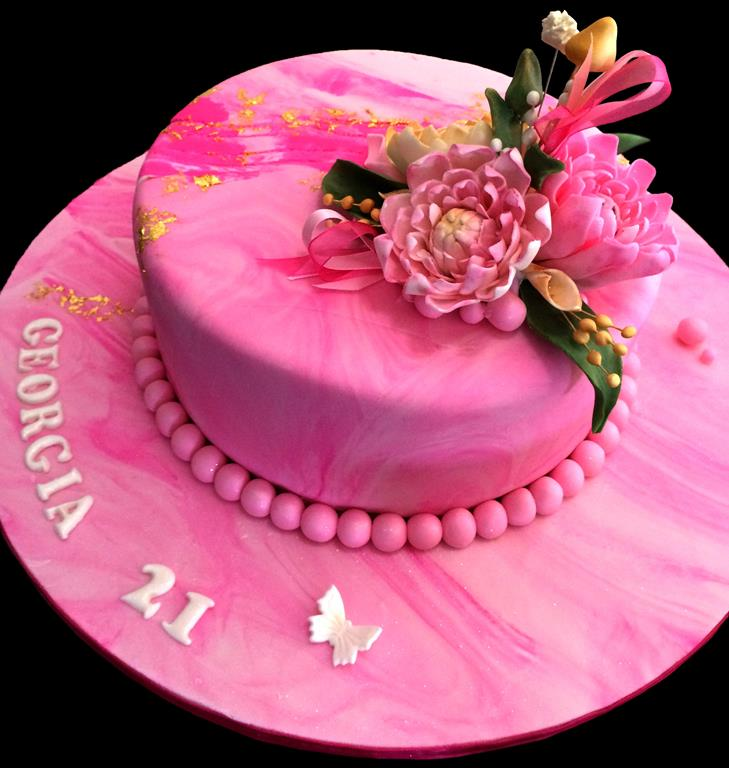 Pink 21st Birthday Cake