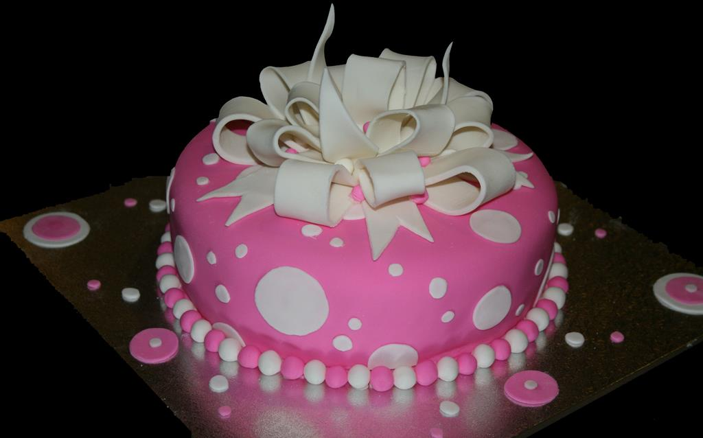 Pink Bow Birthday Cake