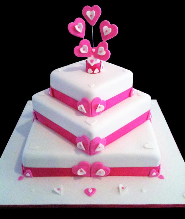 Pink Three Tier Weeding Cake with Love Hearts