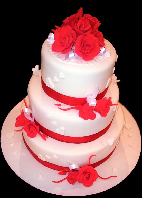 Red Rose Wedding Cake Brisbane