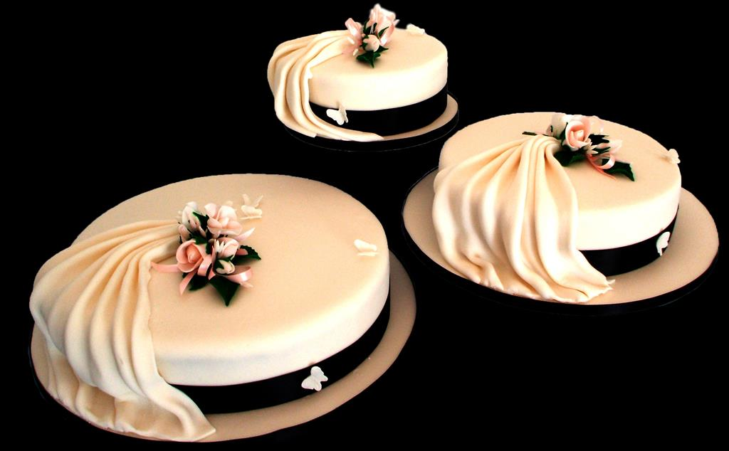 Three Round Wedding Cakes
