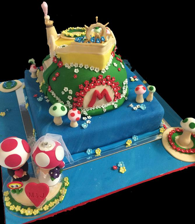 Three Ttier Mushroom Childrens Birthday Cake