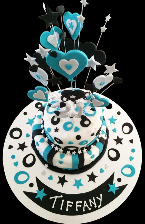 Two Tier Mad Hatter Birthday Cake - Top View