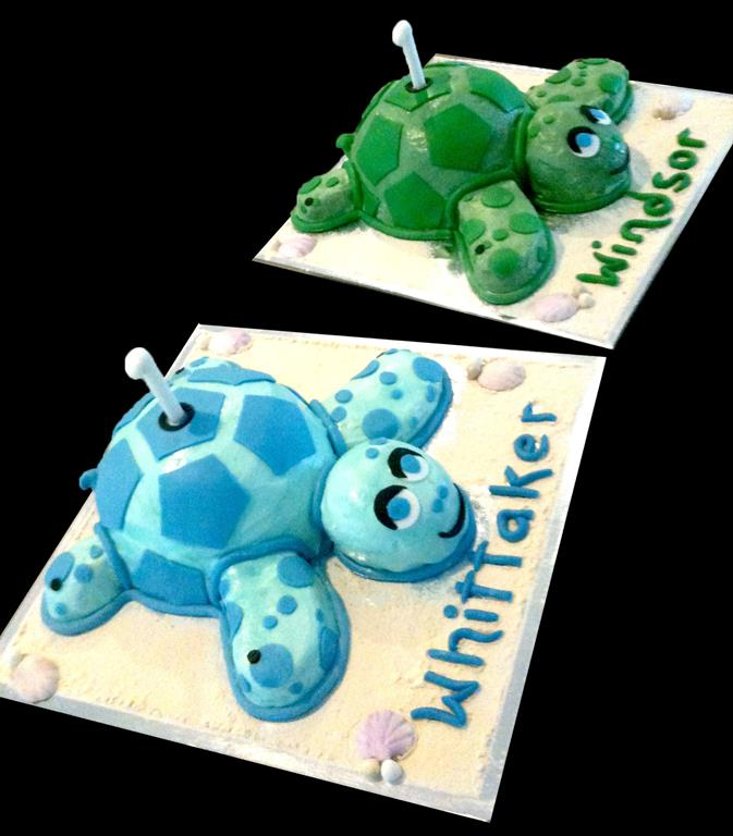 Two Turtle Childrens Cakes