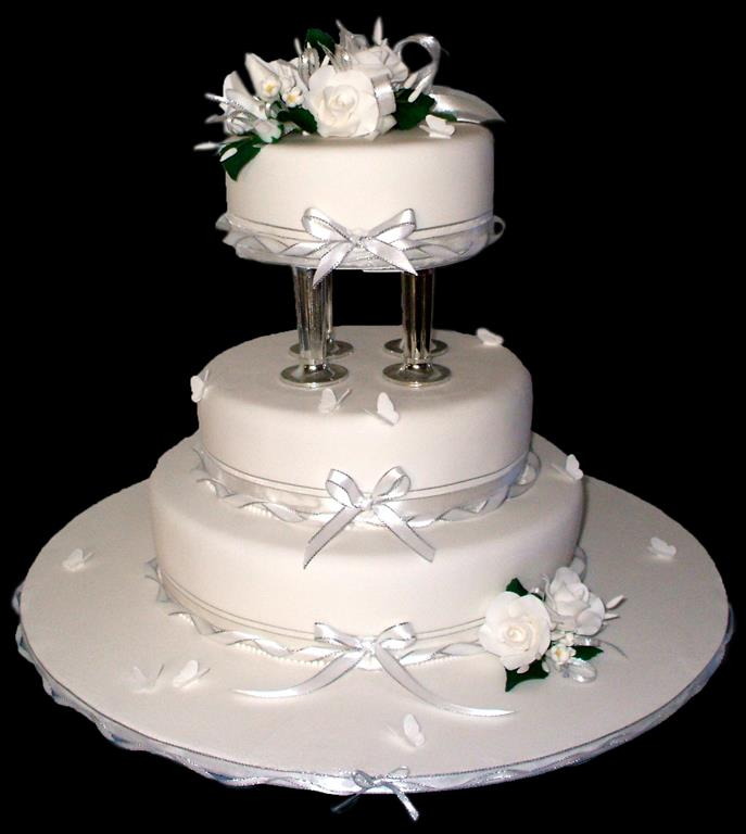 White Roses 3 Tier Wedding Cake