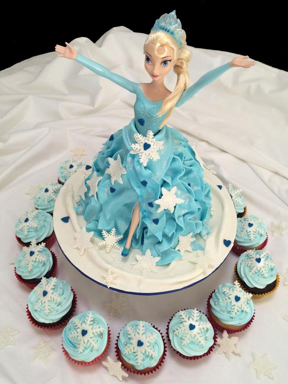 Elsa Frozen Doll Cake and Cupcakes