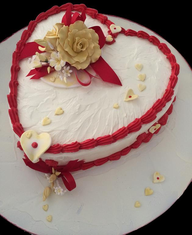 Gold Roses Love Heart Shape Cake