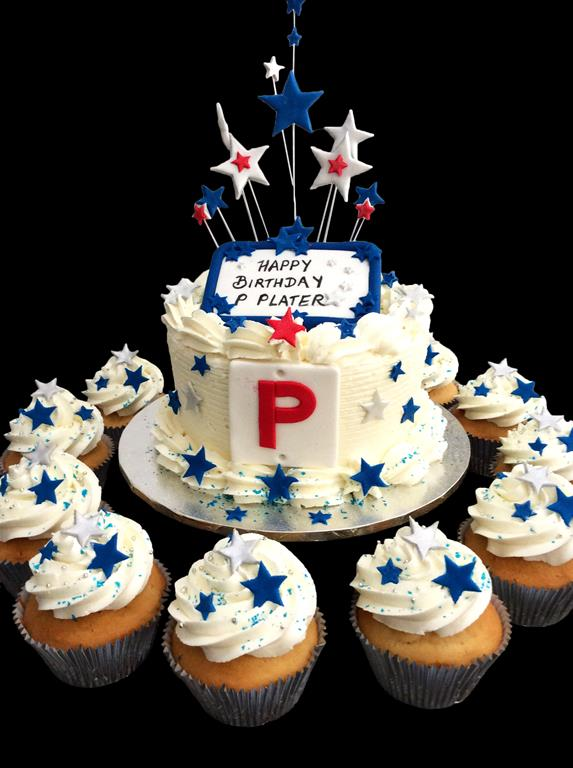 P Plate Birthday Cake with Cupcakes