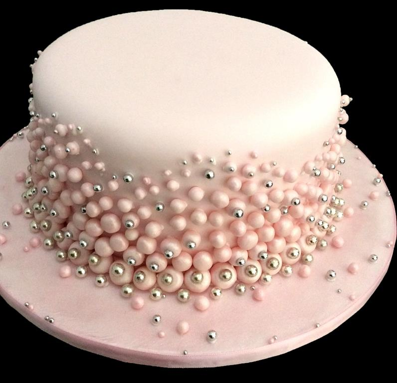Pink and Silver Dot Cake