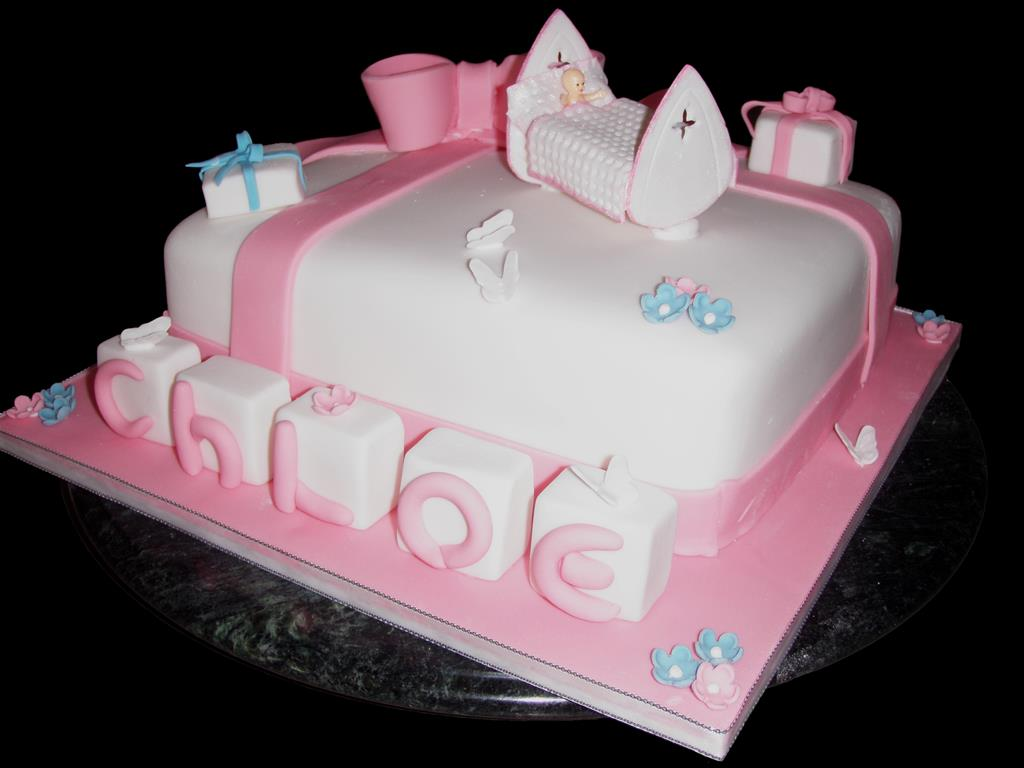 Pink Baby Cot Christening Cake