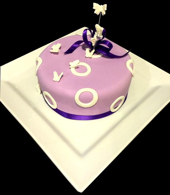 Purple and Butterflies Cake