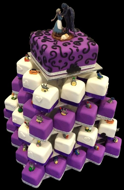 Purple and White Cake and Cupcakes