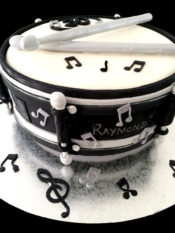 Raymond Black And White Drum Cake