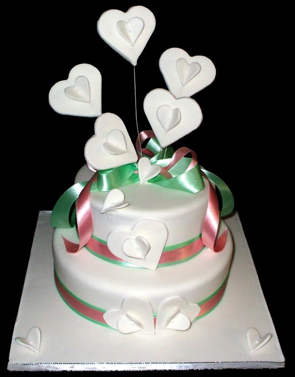 White Hearts 2 Tier Cake