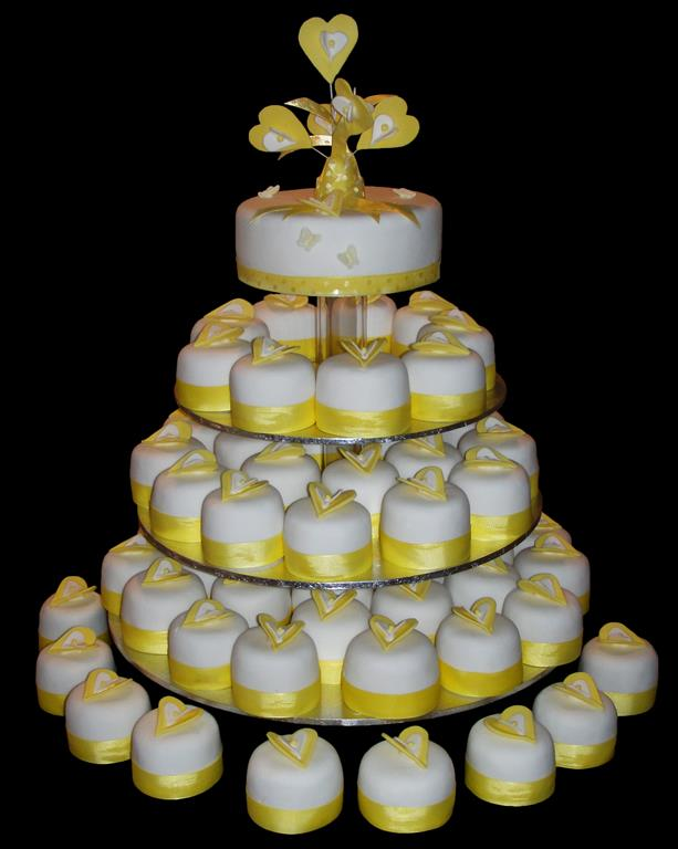Yellow and White Heart Cupcakes